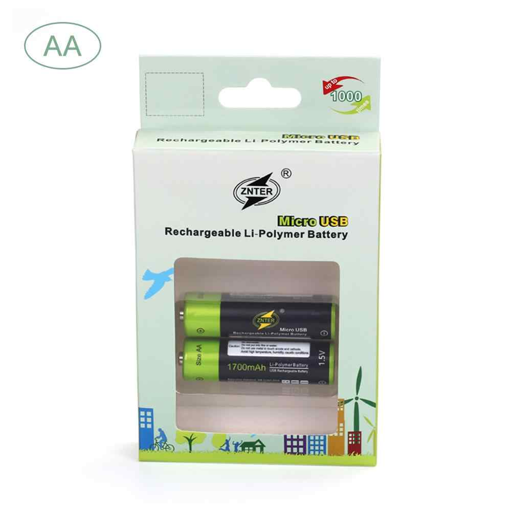 ZNTER マイクロ USB 充電式単三/AAA リチウム電池 1700mA と充電ケーブル