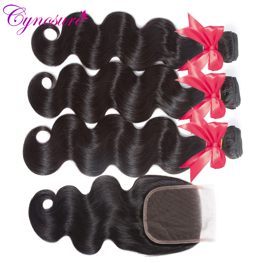 Cynosure Brazilian Hair Weave 3 Bundles With Closure Double Weft Body Wave Human Hair Bundles With Cynosure Brazilian Hair Weave 3 Bundles With Closure Double Weft Body Wave Human Hair Bundles With Closure Remy Medium Ratio