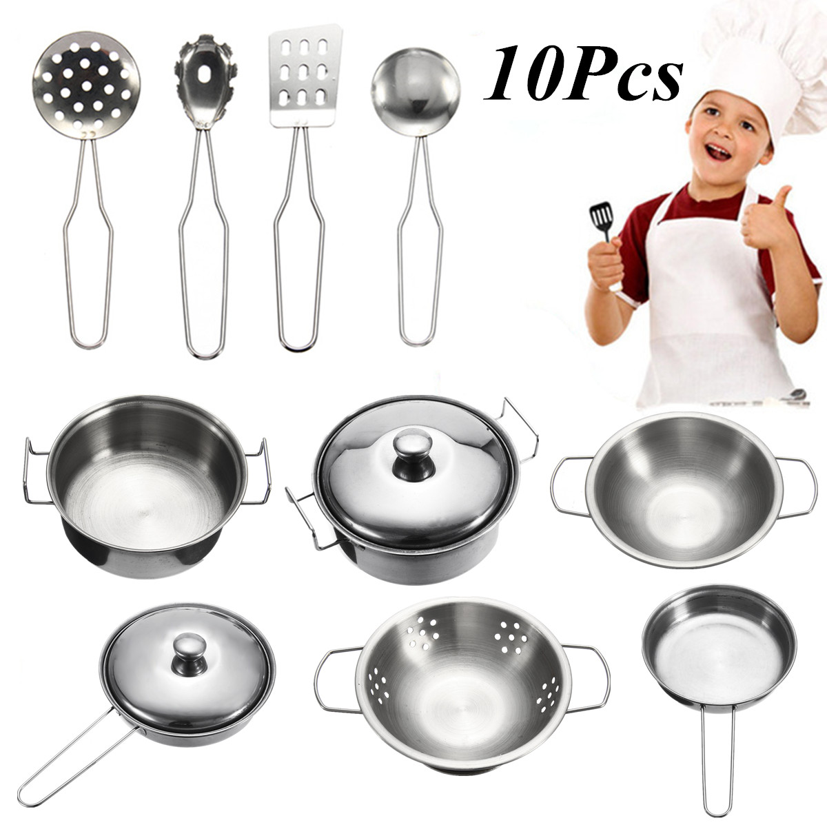 10Pcs Stainless Steel Kids Kitchen Toys Mini Cooking Cookware Children Pretend Toy Fun Play Tools Safe Exquisite Workmanship