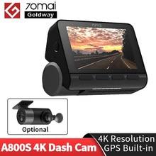 Em estoque 70mai traço cam a800 dupla-visão 4k 140 fov super visão noturna gps adas 24h monitor de estacionamento dvr câmera 70mai 4k a800s