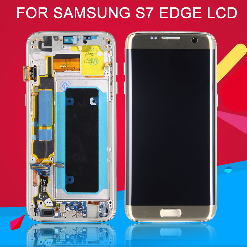 Dinamico Super Amoled G935 <font><b>Display</b></font> For <font><b>Samsung</b></font> <font><b>Galaxy</b></font> <font><b>S7</b></font> Edge Lcd Screen G935F Lcd Touch Digitizer <font><b>Assembly</b></font> With Frame+Tools image