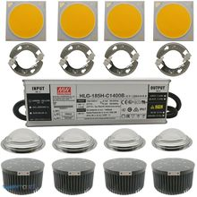 Luz LED de cultivo CREE CXB3590 regulable, 200W, Kit de 4 piezas con controlador de HLG 185H C1400B Meanwell, soporte Ideal, disipador térmico de 133mm, lente de 100mm