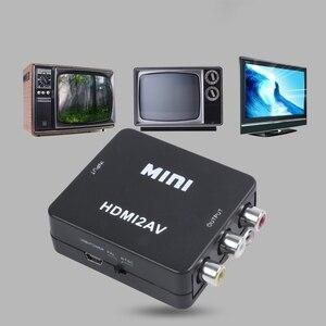 Image 2 - 미니 HDMI to 3RCA CVBS 컴포지트 비디오 AV 컨버터 어댑터 TV VHS VCR DVD 블랙