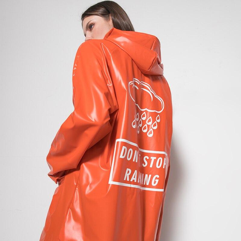 PVC TPU Long Hooded Trench Thick Waterproof Raincoat Fashion Trendy Chic Long Coats