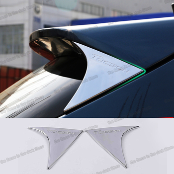 Lsrtw2017 Abs Car Rear Window Spoiler Triangle Panel Trims for Hyundai Tucson 2019 2020 Accessories Chrome lsrtw2017 abs car rear window stri trims car styling for kia k5 optima 2016 2017 2018 2019 2020 interior mouldings accessories