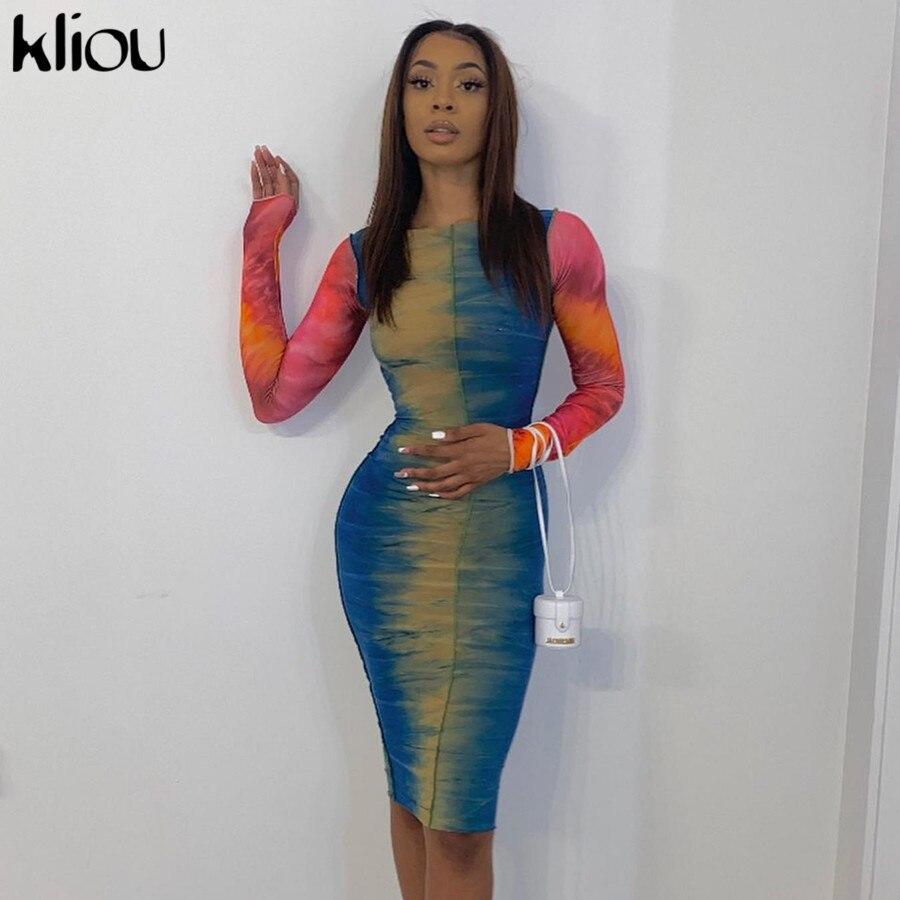 Kliou Multicolor Print Kleider Frauen 2020 Herbst Patchwork Dünne Streetwear Fashion Party Clubwear Weibliche Bodycon платье Outfits