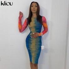 Kliou Multicolor Impressão Vestidos Mulheres 2020 Outono Patchwork Fino Streetwear Fashion Party Clubwear Bodycon Feminino платье Outfits