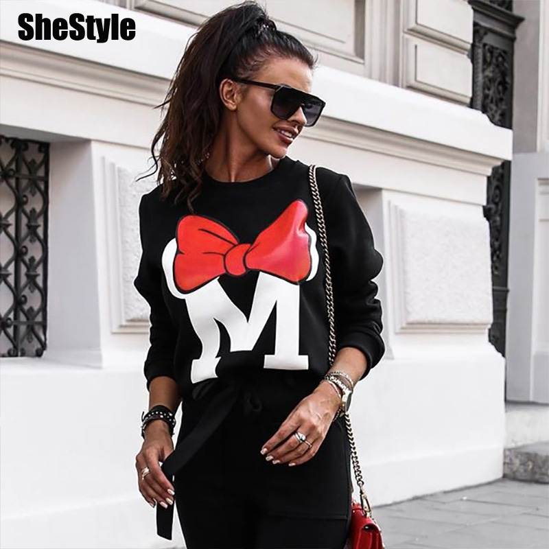 Shestyle Autumn Winter Oversize Cartoon Sweatshirts Women 2019 Bow Print Casual Loose Minimalism O Neck Black Gray Hoodies Lady