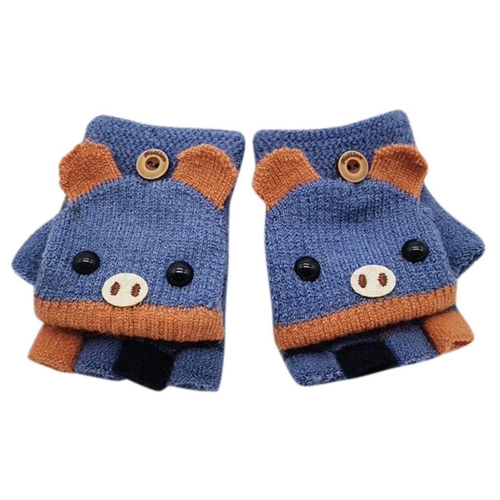 Детские зимние теплые вязаные варежки без пальцев, вязаные перчатки, удобные перчатки для девочек - Цвет: F