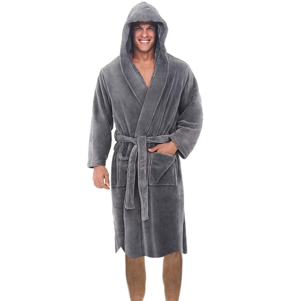 Plus Size Men's Winter Warm Lengthened Plush Shawl Bathrobe Homewear Clothes Long Sleeved Robe Coat For Male 2019
