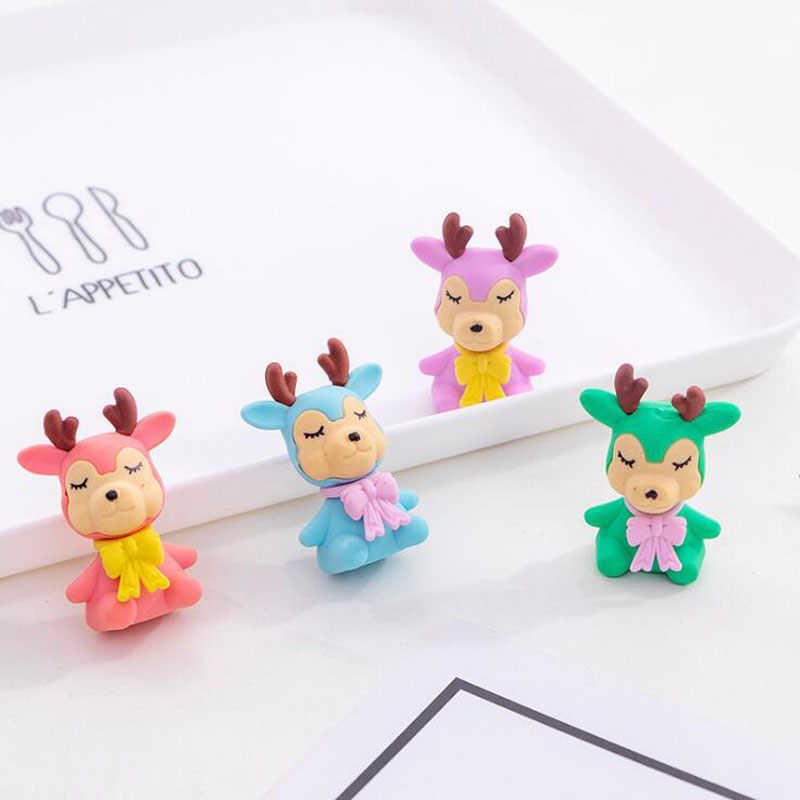 Christmas Color Deer Eraser Kawaii Pencil Eraser Cartoon Style Creative For Kids Funny Erasers Korean Stationery School Supplies