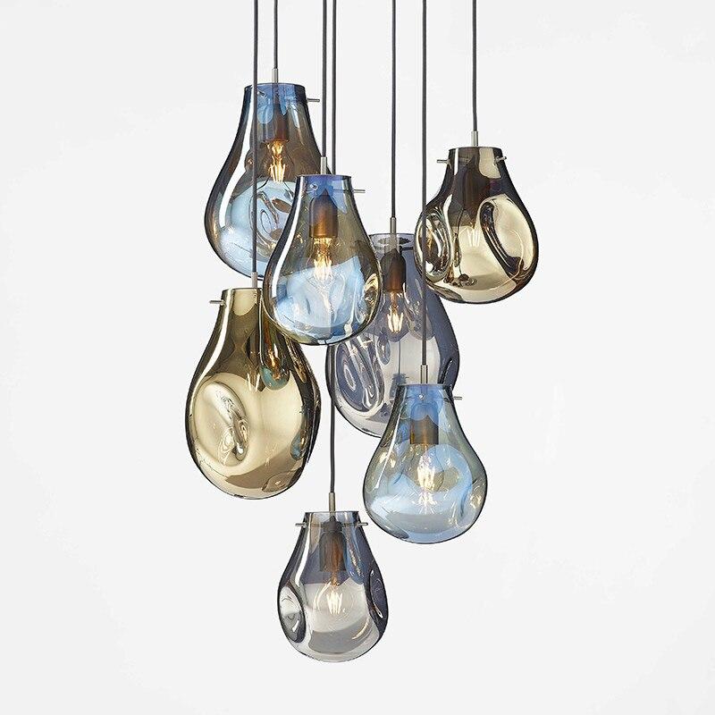 Post-modern Minimalist Colorful Glass Pendant Lights Bedroom Bedside Lamp Cafe Restaurant Creative Designer Glass Hanging Lamp