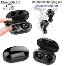 C5 kablosuz kulaklık yüzme için IPX8 su geçirmez spor TWS gerçek Bluetooth kulaklık Mini kulak kulakiçi ile şarj kutusu