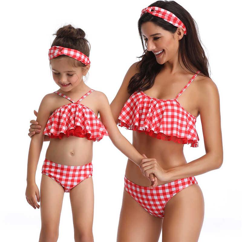 Oeak 2020 matka i córka strój kąpielowy Bikini rodzina pasujące ubrania stroje kąpielowe wygląd mamusia dziecko odzież plażowa strój