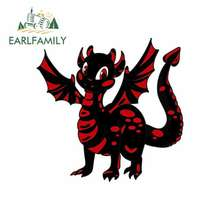 EARLFAMILY 13cm x 12.7cm for Red Happy Dragon Funny Car Stickers RV VAN DIY Fine Decal Bumper Trunk Truck Graphics Accessories