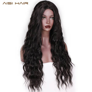 Black Wigs HAIR Synthetic-Wig Wave Middle-Part Heat-Resistant Brown Long-Wavy Natural