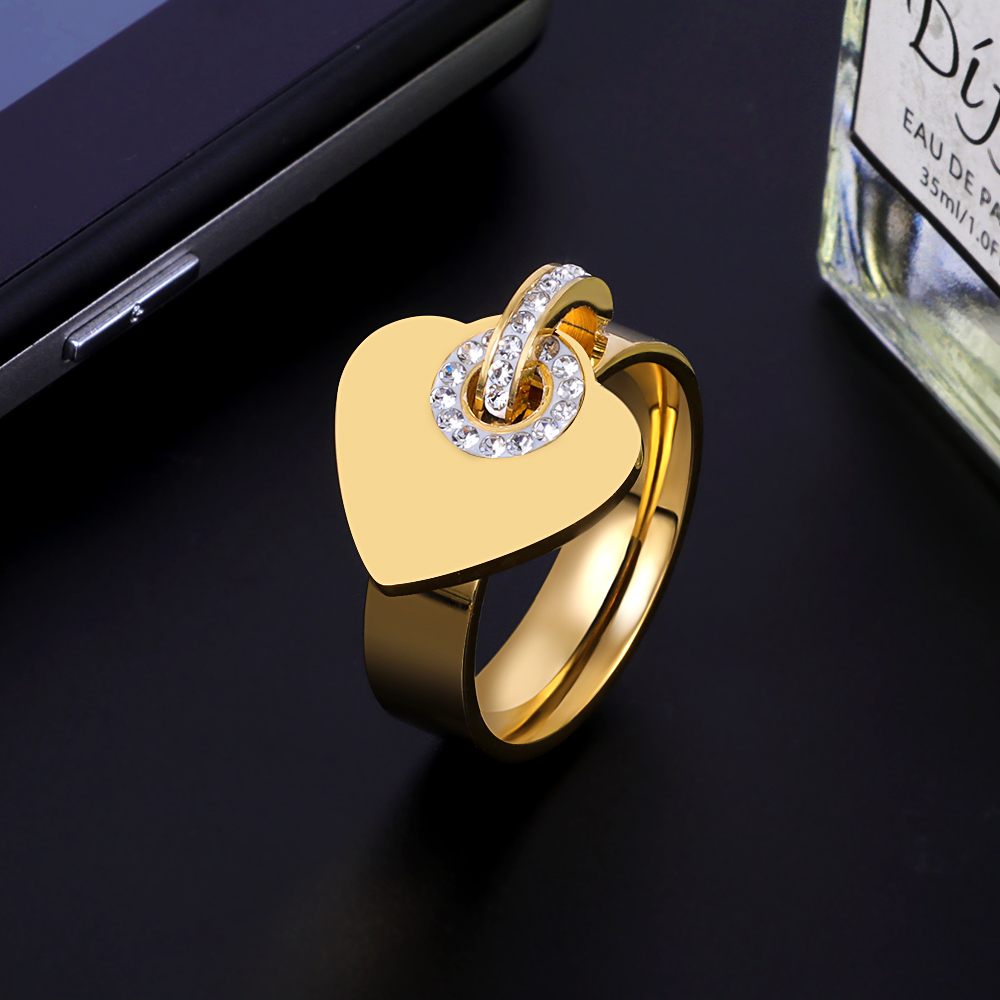 Stainless Steel Charm Finger Rings Sweet Heart Trendy Female Jewelry Gift Classic Girl Women Ring Crystal Pendants Rings