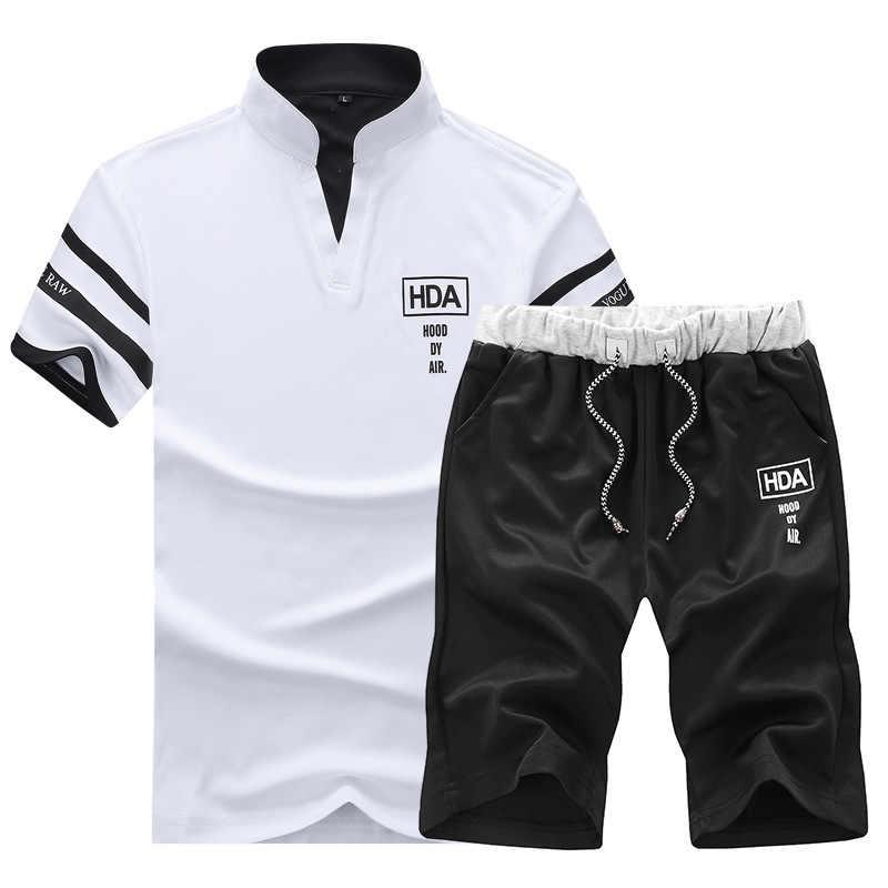 Conjunto de verão de 2020, camiseta e bermuda masculina de manga curta, calções de praia com elástico na cintura homme cor sólida