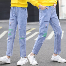 Pencil Pants For Teen Girls Fashion Letters Print Ripped Trousers New Spring Casual Style Slim Jeans Teenagers Clothes 4-14Years