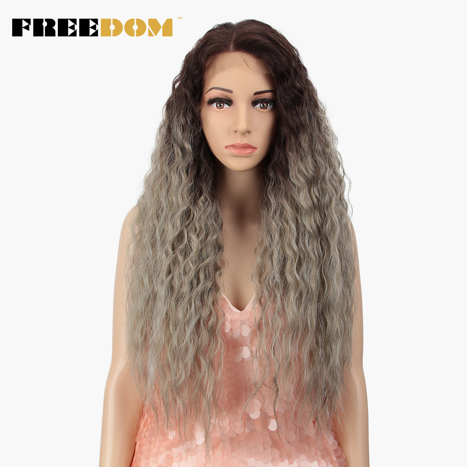 FREEDOM Synthetic Lace Front Wig 360 Lace Free Parting Curly Ombre Ponytail Wig For Black Women Heat Resistant American Fashion