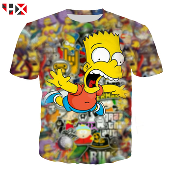 HX Casual The Simpsons 3D Printed Men Women Funny T Shirt Harajuku Fashion Cartoon Hip hop Short Sleeve Tops HX453 - discount item  34% OFF Tops & Tees