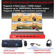 9 modo de exibição 4x1 kvm hdmi multi-viewer switch quad tela em tempo real multiviewer com hd1080p hdmi sem emenda switcher splitter