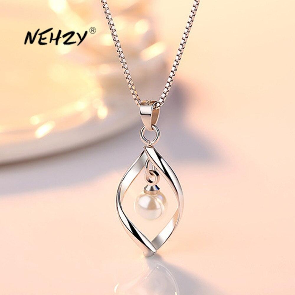 NEHZY 925 sterling silber neue frauen mode schmuck hohe qualität einfache twisted perle hohl anhänger halskette länge 45CM