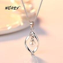 NEHZY 925 серебро Новинка женские модные ювелирные изделия высокого качества простые витой Жемчуг полые кулон ожерелье длина 45 см