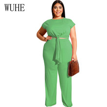 WUHE Rompers Women Jumpsuits Large Size 4XL 5XL Summer Two Pieces Sets Lace-up Short Sleeve Casual Big Overalls Playsuits