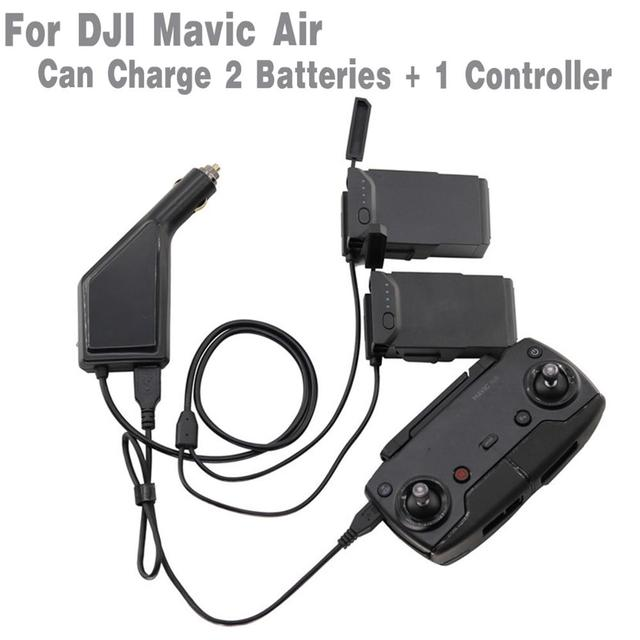 3 in1 מטען לרכב עבור DJI Mavic אוויר שלט רחוק & סוללה טעינת רכזת רכב מטען מתאם 2 סוללות + בקר טעינה