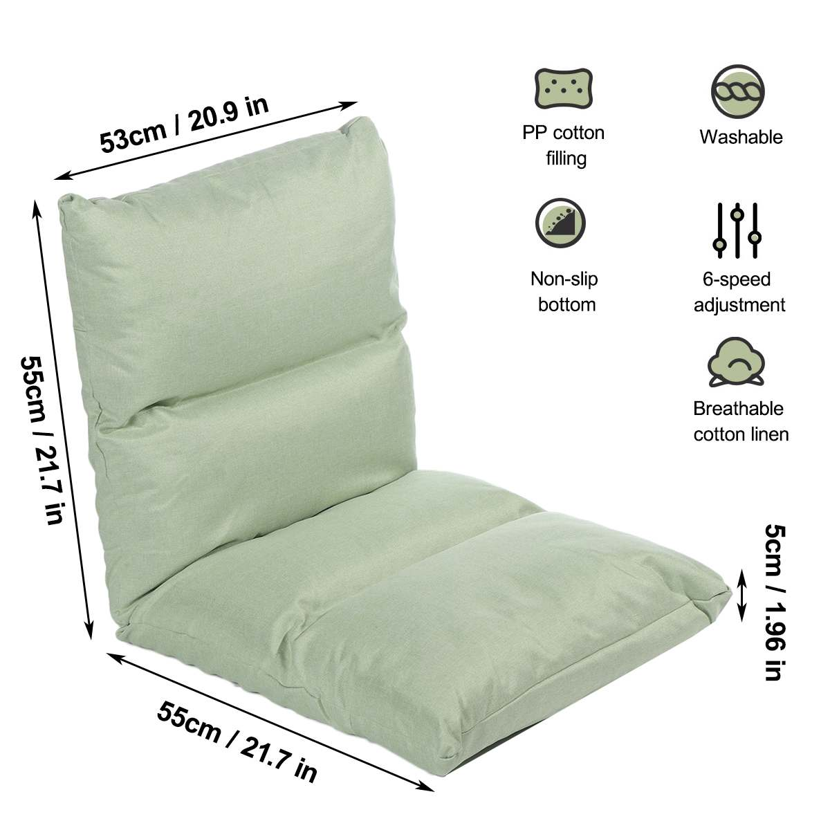 Adjustable Floor Chair Folding Relaxing Lazy Sofa Chair Cushioned Couch Lounger Solid Long Seat Cushion Mat Sofa Tatami Mat