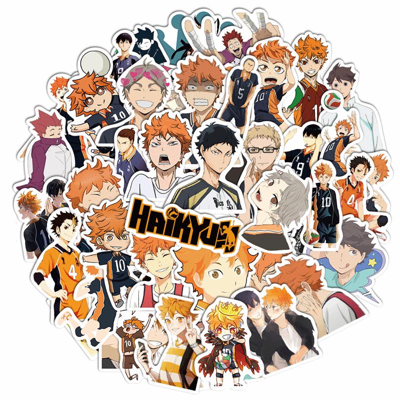 Aleatória 50 pçs/set Japão Anime Dos Desenhos Animados Adereços Haikyuu!! Adesivo hinata shoyo kageyama tobio