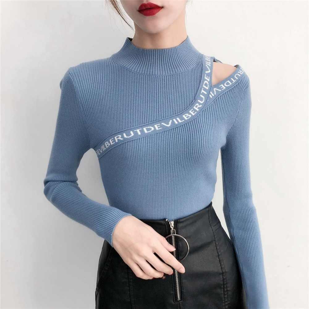 2019 Sexy Mode Koreanischen Aushöhlen frauen Pullover Frühjahr Pullover Weibliche Stricken Jumper Blau dame Pullover Herbst Pull femme