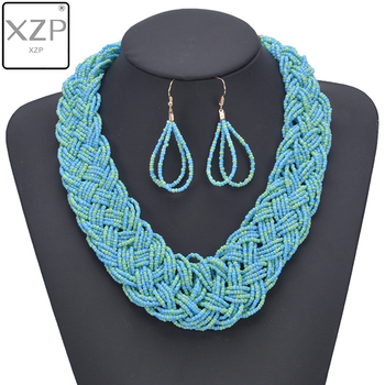 XZP BOHO Small Seed Beads Handmade Knot Vintage Necklace Earrings Jewelry Set Bohemian Choker Ethnic Women Accessories