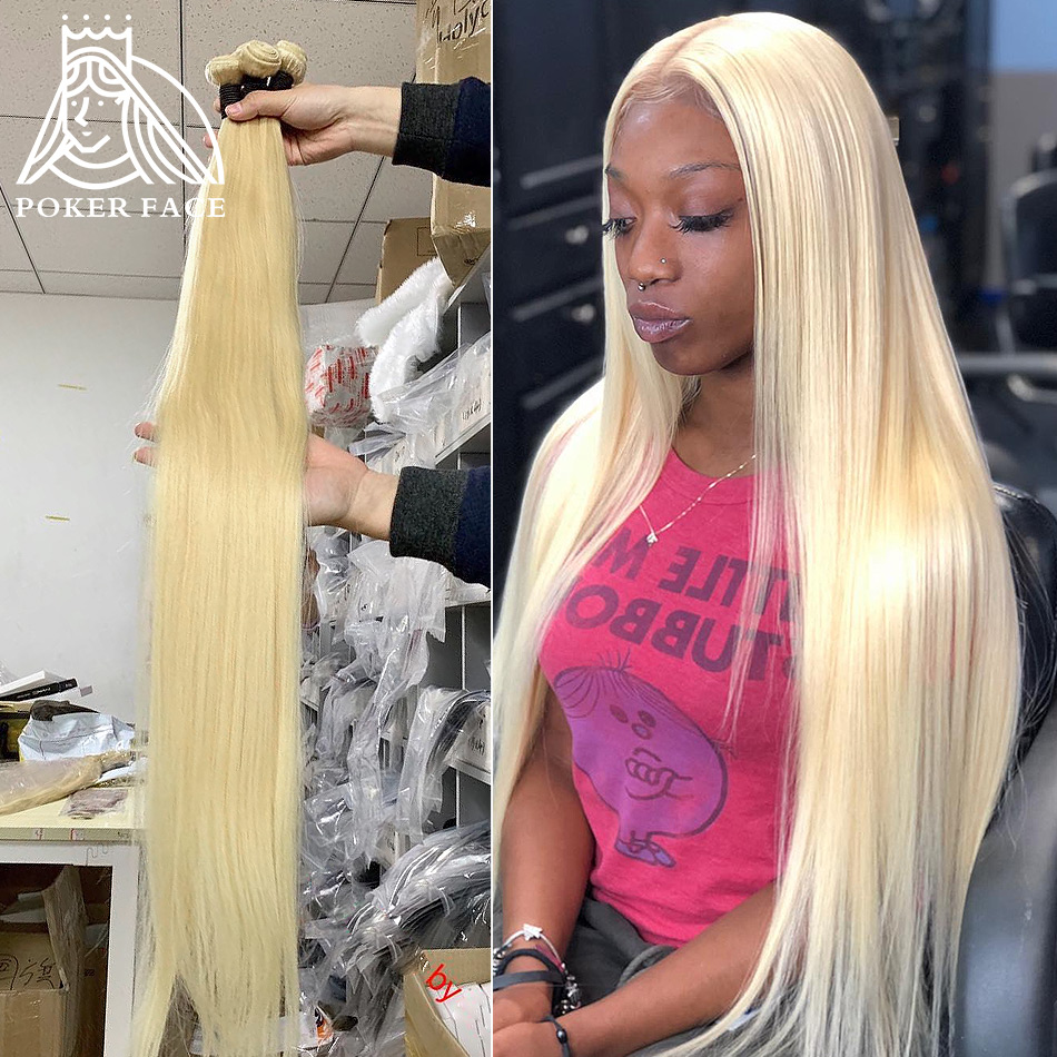 Poker Face 613 Color Straight 1 3 4 Bundles Brazilian Human Hair Weave Remy 28 30 40 Inch Blonde Hair Extensions Middle Ration