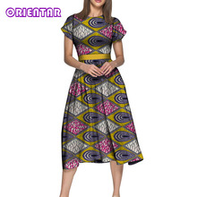 2019 Simple African Dresses for Women Short Sleeve High Waist Print Dress Bazin Riche Elegant Lady Midi WY5200