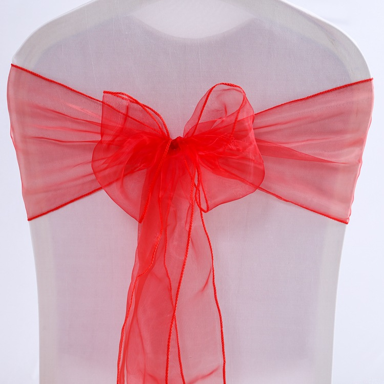25pcs/lot Pink Organza Chair Sashes Wedding Chair Decoration Ribbons Ties Bow for Cover Banquet Wedding Party Event Mint Green