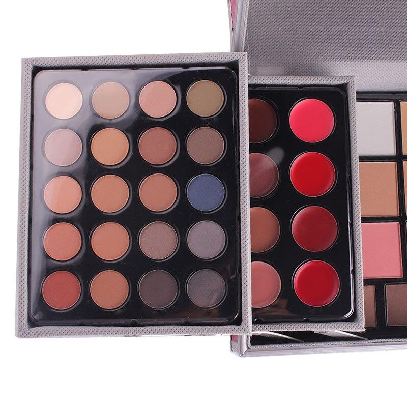 Miss Rose профессиональный набор для макияжа коробка для макияжа Блеск Мерцающий матовая Палетка теней для век Блеск для губ Румяна Кисточки для макияжа - 6
