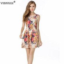 цены VISNXGI Summer Dresses For Women Casual Bohemian Floral Sleeveless Vest Big Flower Printed Beach Chiffon Dress For Women 2019