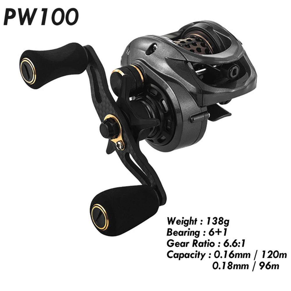 Fishband Baitcasting Reel PW100 6.6:1 Carp Bait Cast Casting Fishing Reel For Trout Perch Tilapia Bass Fishing Tackle