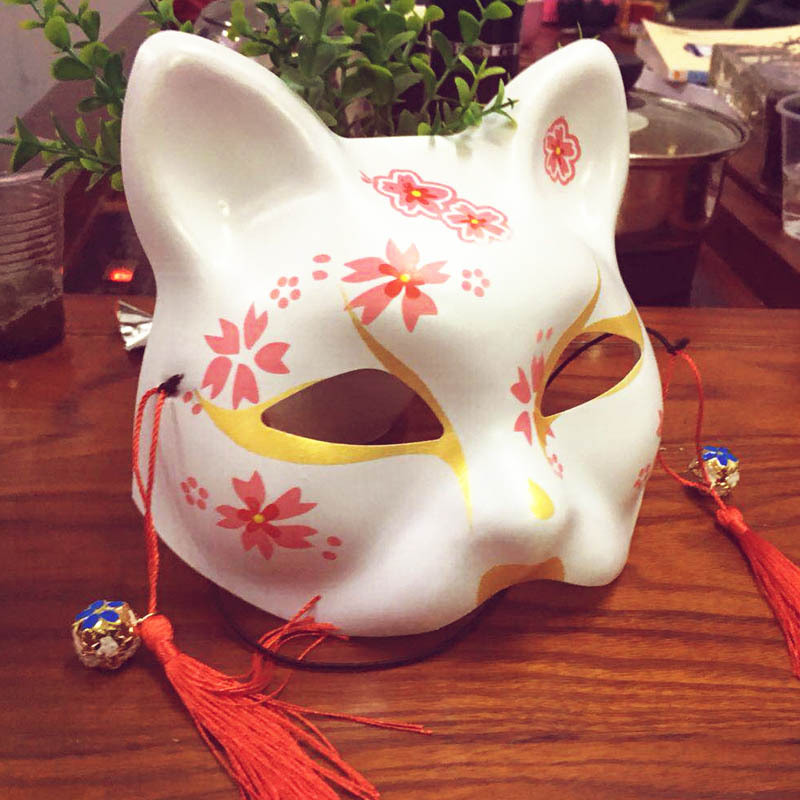 Fox Mask Animal Cosplay Cosutmes Japanese Cat Natsume Book of Friends Fox Half Face Mask Halloween Cosplay Mask Party Props(China)