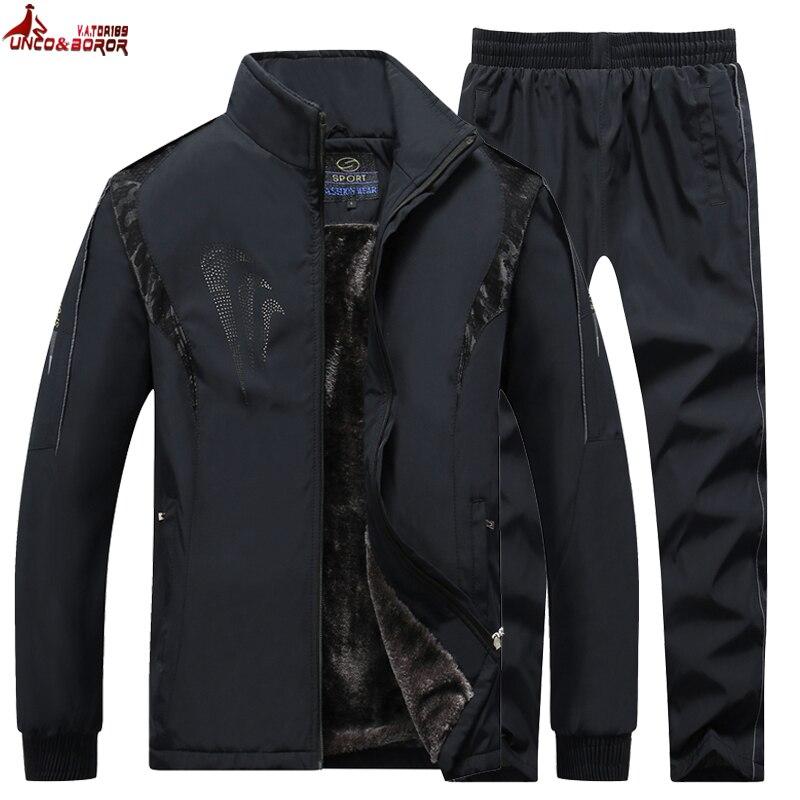 Big Size L~5XL Brand Wool Liner Tracksuit Men Two Piece Clothing Sets Casual Jacket+Pants Track Suit Men`s Sportswear Sweatsuits