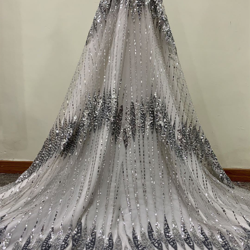 New Design Sequins Tulle Lace Fabric 2020 High Quality Material French Embroidery Nigerian Lace Fabrics For Wedding Party Dress