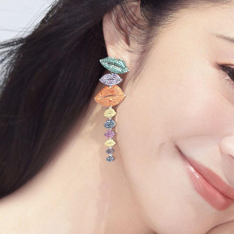 Hot marque 925 bijoux en argent Sterling multicolore longues lèvres boucles d'oreilles rouge Orange zircone pierres Yao Chen Collection femmes bijoux - 3