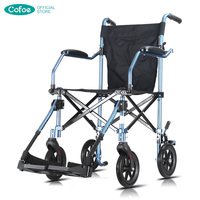 Cofoe Wheelchair Folding Transport Wheel Chair Aluminum Lightweight Disabled Carriage Light Handiness Brougham for the Disabled