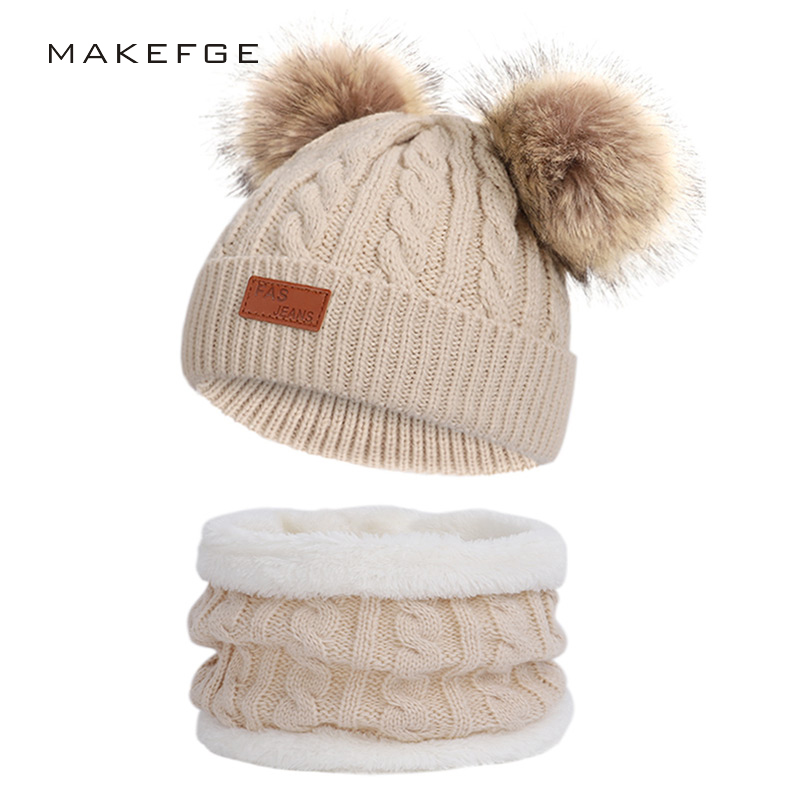 Children's Winter Warm Suit Knit Hat Scarf Boy / Girl Pom-pom Hat Bean Bib Ski Warm Mask Outdoor Headwear 2 Piece Set Baby