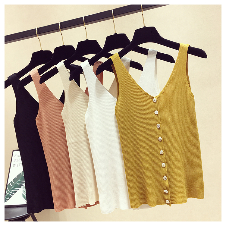 Summer Women Fashion Slim Knitting Tank Tops Female Deep V-neck Knitted Single Breasted Camisole Sleeveless T Shirts