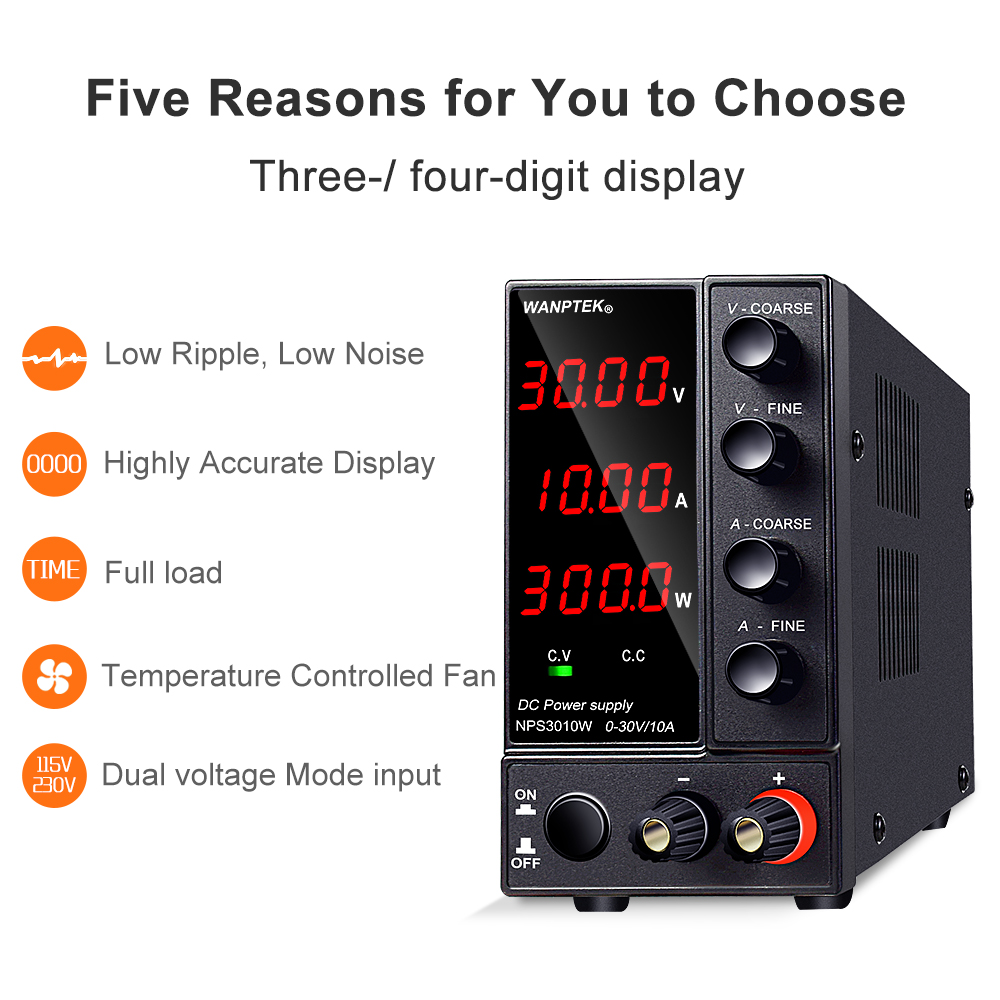 Wanptek Adjustable DC power supply 30V 10A LED Digital Lab Bench Power Source Stabilized Power Supply Voltage Regulator Switch-4