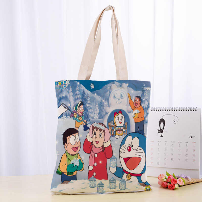 doraemon blue zip Storage Bags shopper recycle bag handbag unisex new