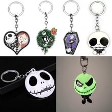 Movie Jewelry Luminous Keychain Sally Jack Skellington Heart Coffin Enamel Keyring Skull Skeleton Car Key Chain Christmas Gifts